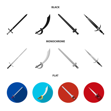 Isolated object of sword and blade. Set of sword and game stock vector illustration.