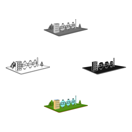 Chemical production.Fabric and industry single icon in cartoon,black style isometric vector symbol stock illustration web. Stock Illustratie