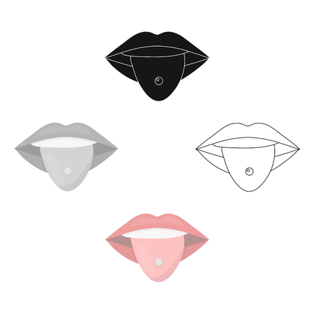 Pierced tongue icon cartoon,black. Single tattoo icon from the big studio cartoon,black.