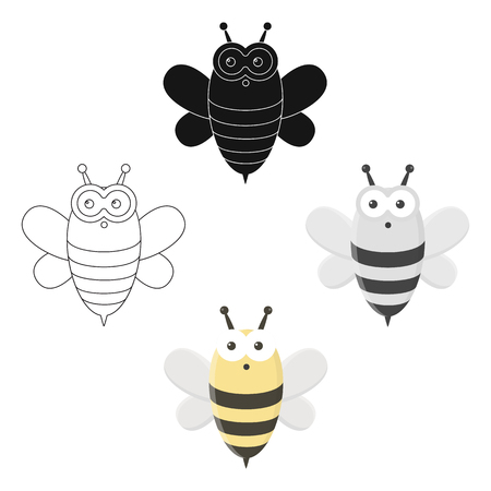 Bee cartoon,black icon. Illustration for web and mobile design.