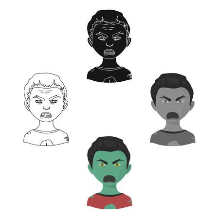 Man, single icon in cartoon,black style.Man, vector symbol stock illustration web.