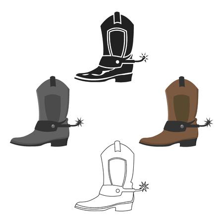 Cowboy boot icon cartoon,black. Singe western icon from the wild west cartoon,black.