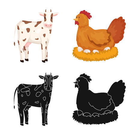 Isolated object of breeding and kitchen  icon. Set of breeding and organic  stock symbol for web.