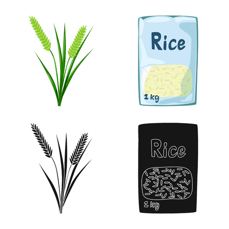 Isolated object of crop and ecological icon. Collection of crop and cooking stock symbol for web. Иллюстрация