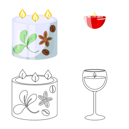 Isolated object of relaxation and flame sign. Collection of relaxation and wax stock vector illustration.