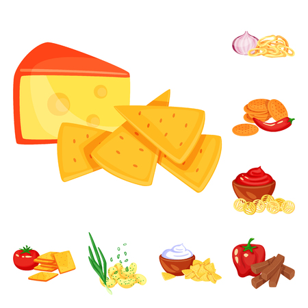 Isolated object of food and product icon. Set of food and party vector icon for stock. Vektorgrafik