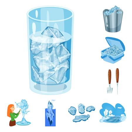 Ilustración de vector de signo de agua y escarcha. Colección de escarcha y icono de vector húmedo para stock.