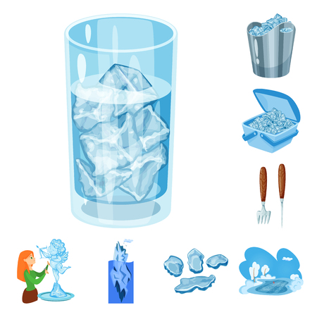 Vector illustration of frost and water sign. Collection of frost and wet vector icon for stock.