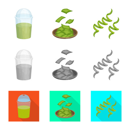 Vector illustration of protein and sea sign. Collection of protein and natural stock vector illustration.