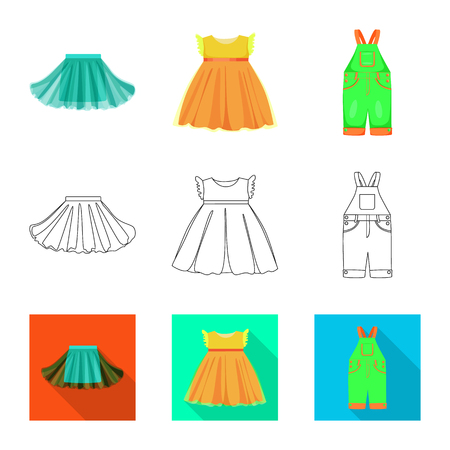 Isolated object of fashion and garment symbol. Set of fashion and cotton stock vector illustration.