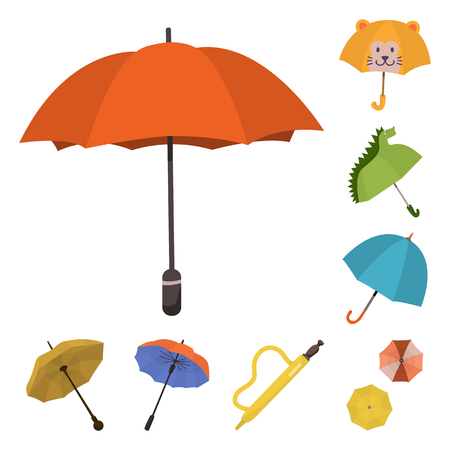Vector illustration of umbrella and rain logo. Collection of umbrella and weather vector icon for stock.