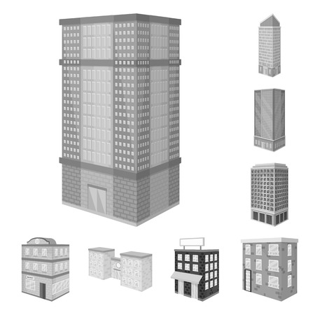 Isolated object of realty and modern logo. Collection of realty and building vector icon for stock. Illustration