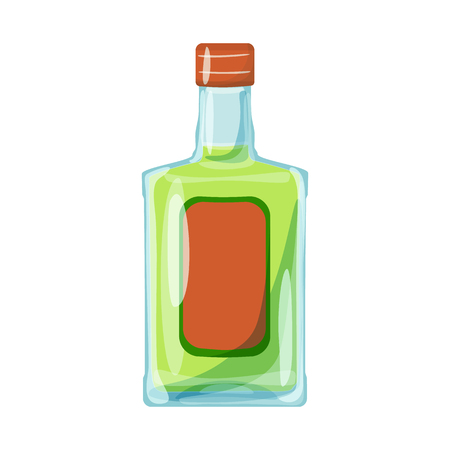 Vector illustration of bottle and alcohol logo. Collection of bottle and vodka  stock symbol for web.