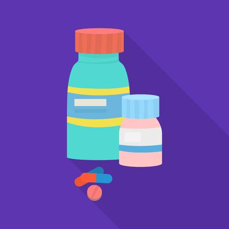 Vector illustration of bottle  and pill  sign. Set of bottle  and medical stock vector illustration. Illustration
