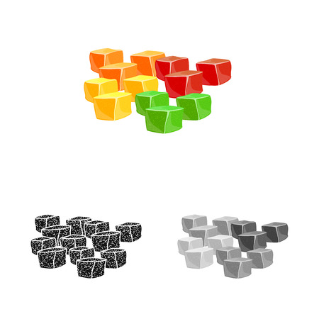 Vector illustration of candied  and jelly  icon. Set of candied  and bright  vector icon for stock.