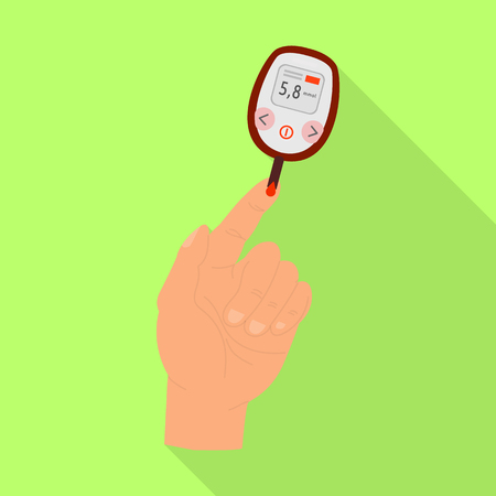 Vector illustration of glucometer  and measuring sign. Set of glucometer  and sugar stock vector illustration.