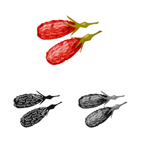 Isolated object of goji  and china  logo. Set of goji  and herbal  stock vector illustration. Stock Vector - 124281246