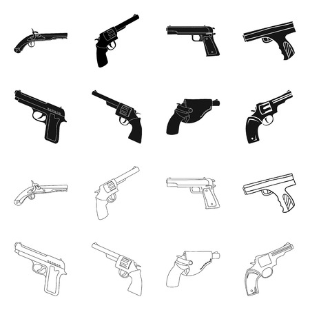Vector illustration of revolver and pistol sign. Collection of revolver and trigger stock vector illustration.