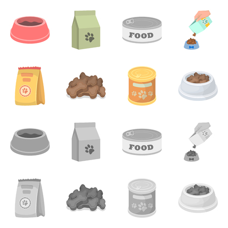 Isolated object of food  and tin logo. Set of food  and bottle stock vector illustration.