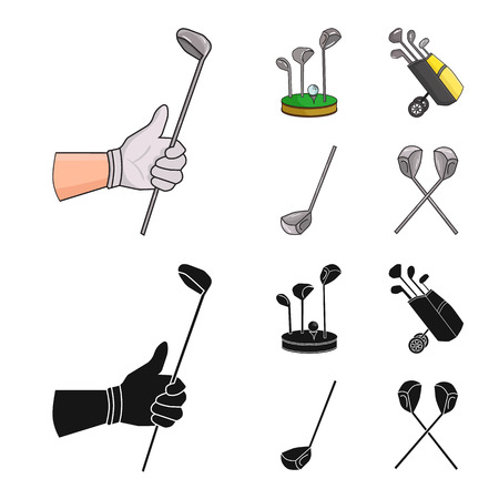 Vector illustration of  and stick logo. Collection of  and golf  stock symbol for web.