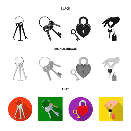 Isolated object of key  and protection sign. Collection of key  and security vector icon for stock.