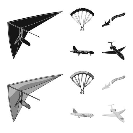 Vector design of transport and object icon. Set of transport and gliding  stock vector illustration. Illustration
