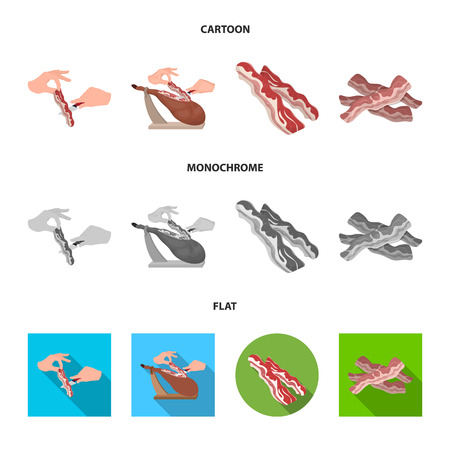 Vector illustration of  and  bacon sign. Collection of  and calorie vector icon for stock. Vettoriali