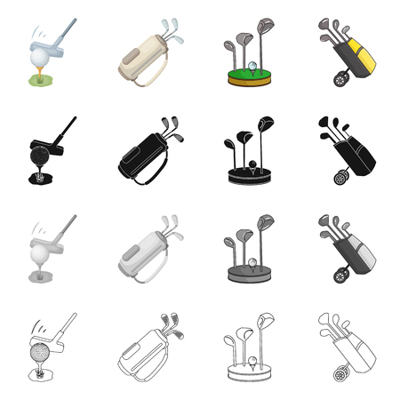 Vector design of  and stick logo. Set of  and golf  vector icon for stock.