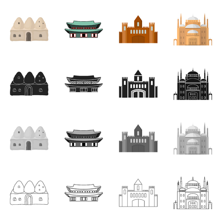 Vector design of town  and chinatown symbol. Collection of town  and asian  stock vector illustration. Illusztráció