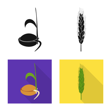 Isolated object of agriculture and farming sign. Set of agriculture and plant vector icon for stock.