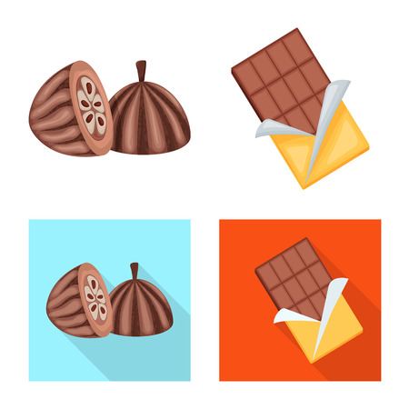 Vector illustration of food and yummy. Collection of food and brown   vector icon for stock. Standard-Bild - 124347051
