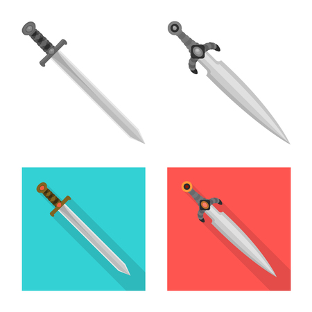 Vector design of game and armor icon. Set of game and blade vector icon for stock.