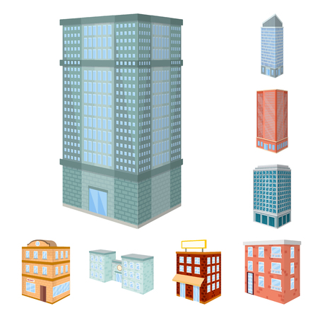 Vector design of city and build sign. Set of city and apartment stock vector illustration.