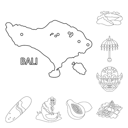 Vector design of balinese and caribbean logo. Set of balinese and geography stock vector illustration.