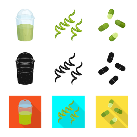 Vector illustration of protein and sea symbol. Set of protein and natural vector icon for stock.