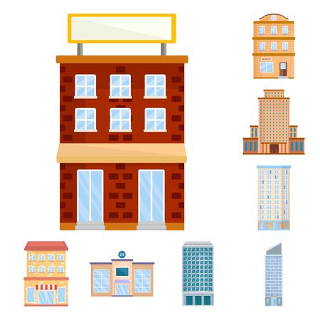 Vector design of facade and building icon. Set of facade and exterior  vector icon for stock.