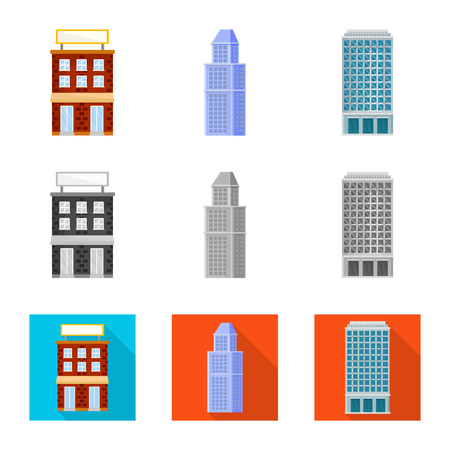Vector design of municipal and center sign. Set of municipal and estate   stock symbol for web.