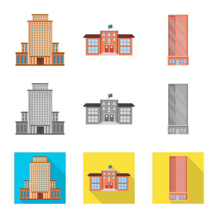 Vector illustration of municipal and center symbol. Set of municipal and estate   stock symbol for web.
