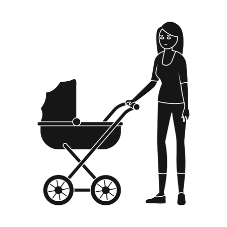 Isolated object of mother and pram logo. Set of mother and mom vector icon for stock.