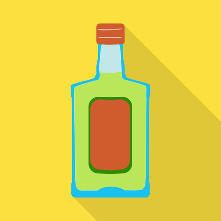 Vector illustration of bottle and alcohol symbol. Set of bottle and vodka  stock vector illustration.