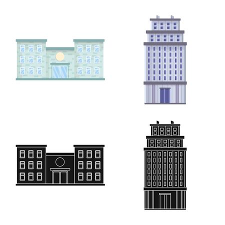 Vector design of municipal and center icon. Set of municipal and estate   stock symbol for web. Illustration