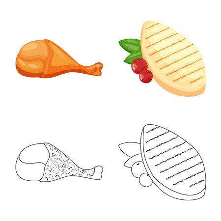 Vector design of product and poultry icon. Collection of product and agriculture    stock vector illustration. 일러스트