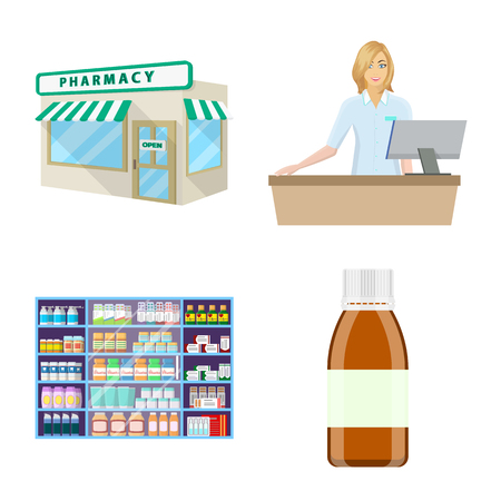 Vector illustration of pharmacy and pharmaceutical sign. Set of pharmacy and health stock symbol for web.