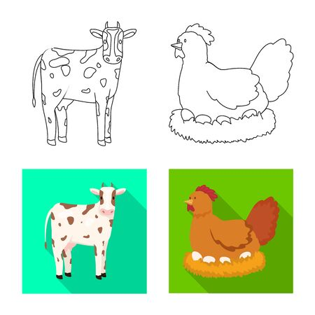 Isolated object of breeding and kitchen  symbol. Set of breeding and organic  stock vector illustration.