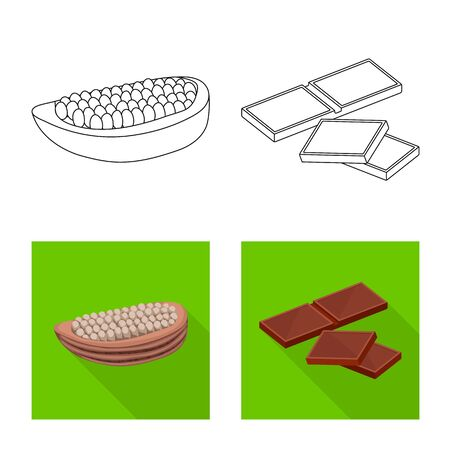 Vector illustration of food and yummy logo. Set of food and brown   vector icon for stock. 向量圖像