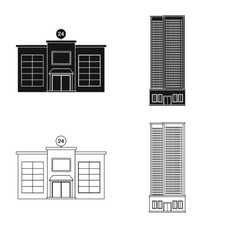 Isolated object of municipal and center symbol. Set of municipal and estate   vector icon for stock. Illustration
