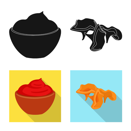 Vector illustration of taste and product sign. Set of taste and cooking stock vector illustration.