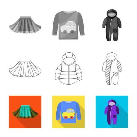 Vector design of fashion and garment symbol. Collection of fashion and cotton vector icon for stock. Illustration
