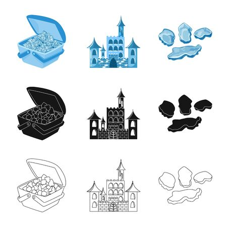 Isolated object of texture and frozen icon. Set of texture and transparent stock symbol for web.