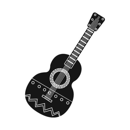 Vector illustration of guitar  and ornament  logo. Collection of guitar  and folk stock vector illustration. Illustration